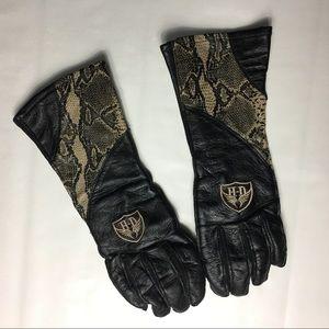 Harley Davidson gauntlet python gloves sz M